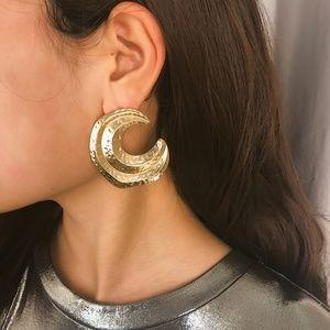 Unique Design//Moon Hoop Earrings GOLD SILVER